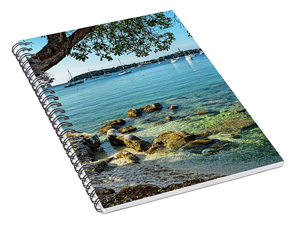 Rovinj Old Town, Harbor And Sailboats Accross The Adriatic Through The Trees Spiral Notebook