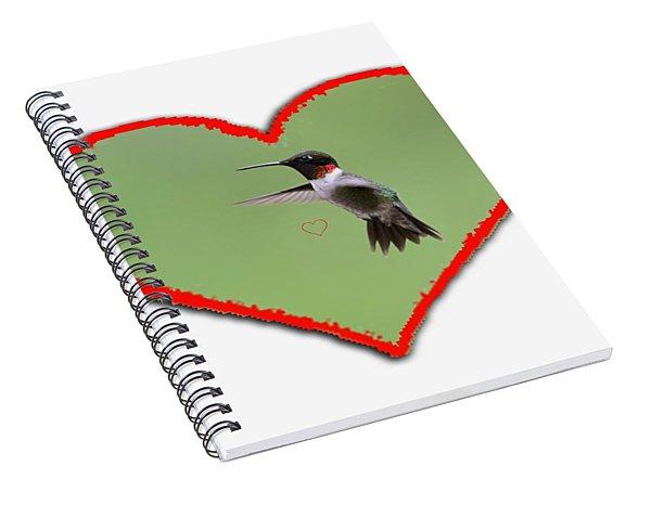 Ruby-throated Hummingbird In Heart Spiral Notebook