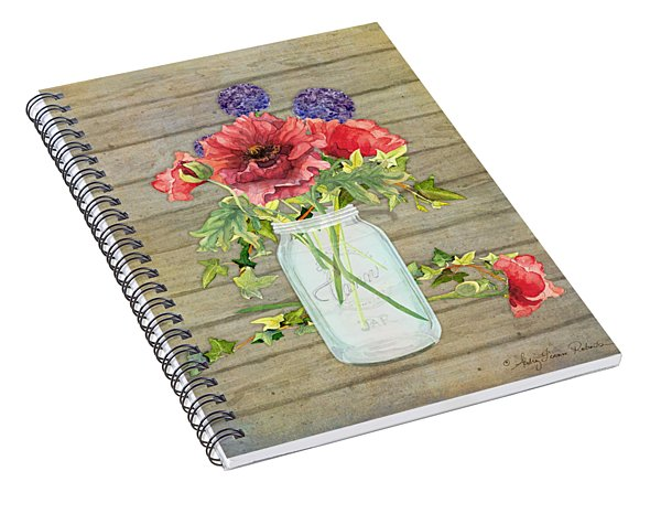 Rustic Country Red Poppy W Alium N Ivy In A Mason Jar Bouquet On Wooden Fence Spiral Notebook