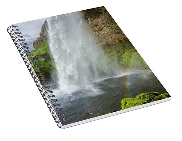 Seljalandsfoss With Rainbow, Iceland Spiral Notebook