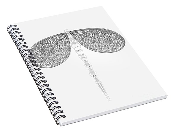 Siver Lace And Crystal Dragonfly On White Background Spiral Notebook