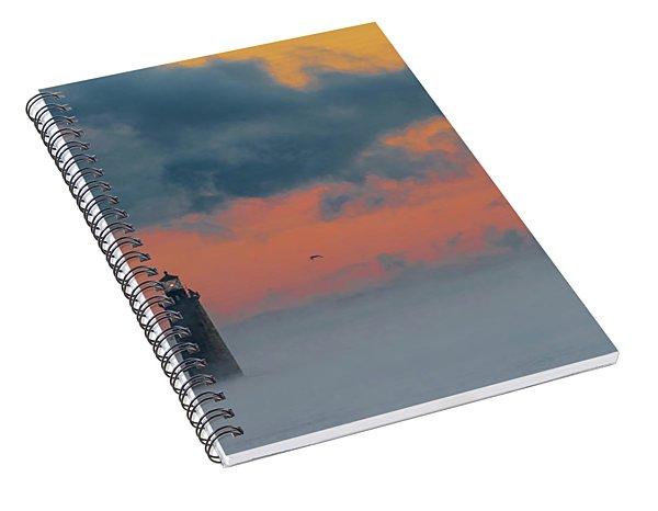 Smokey Sunrise At Ram Island Ledge Light Spiral Notebook