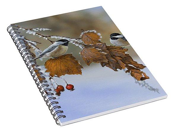Snow Chickadees Spiral Notebook