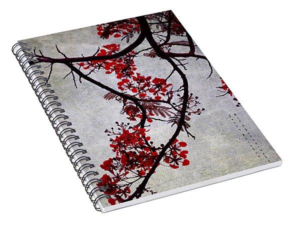 Spring Bloosom In Maldives. Flamboyant Tree II. Japanese Style Spiral Notebook