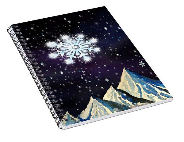 Starry Night Snowflake Spiral Notebook