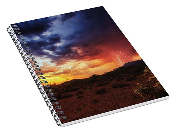 Spiral Notebook featuring the photograph Stormy Twilight In The Desert by Rick Furmanek