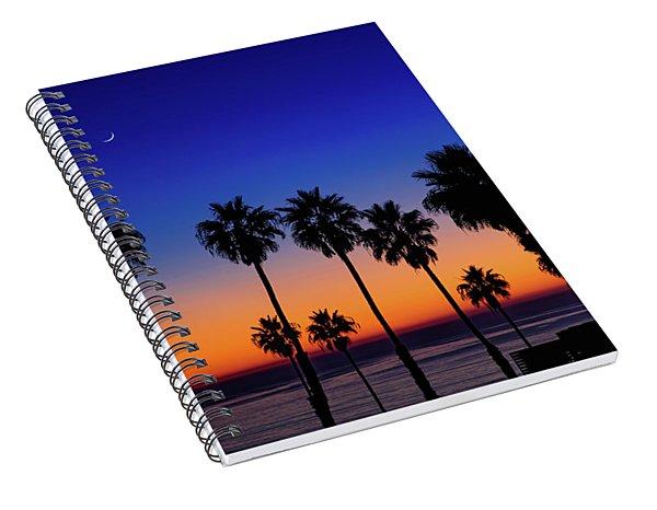 Sunset, Moon, Venus, At La Jolla Shores Spiral Notebook