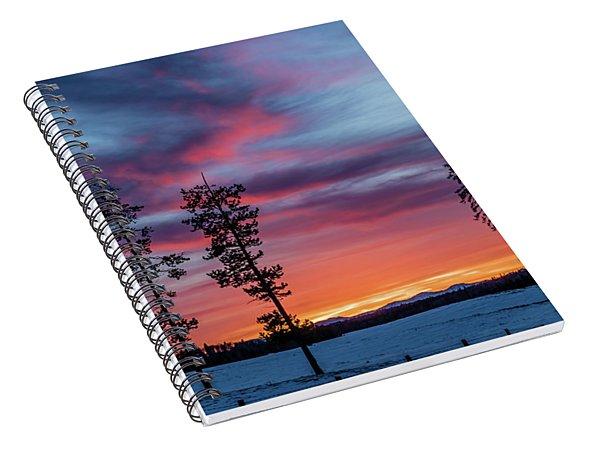 Sunset Over A Farmers Field, Cowboy Trail, Alberta, Canada Spiral Notebook
