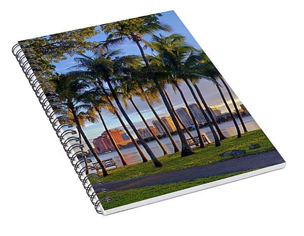 Sunset Over Downtown West Palm Beach From Palm Beach Island Spiral Notebook
