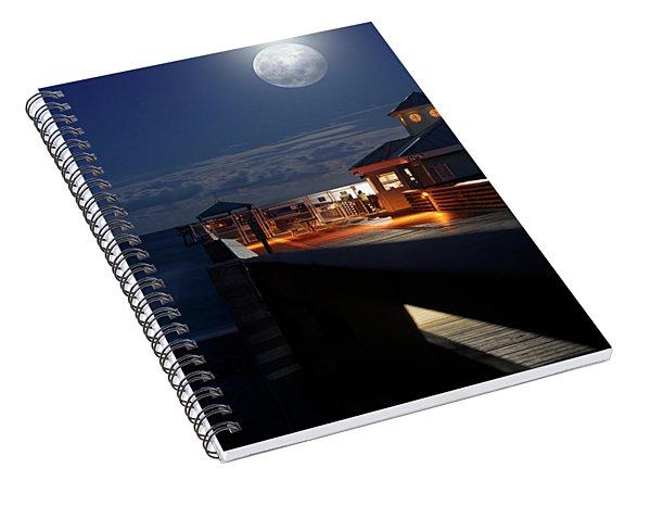 Super Moon At Juno Pier Spiral Notebook