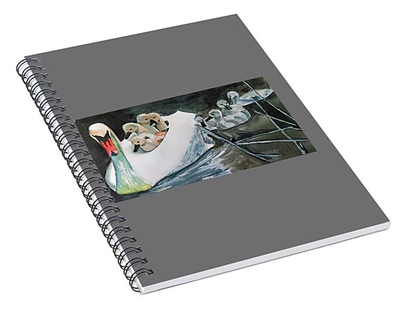 Swan And Cygnets Spiral Notebook