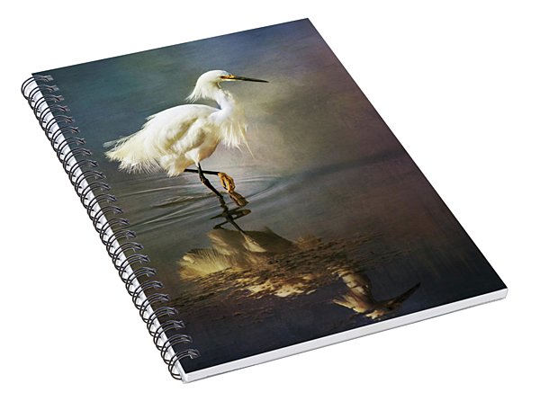 Spiral Notebook featuring the digital art The Ethereal Egret by Nicole Wilde