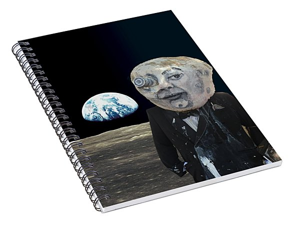 Spiral Notebook featuring the digital art The Man In The Moon by Rafael Salazar