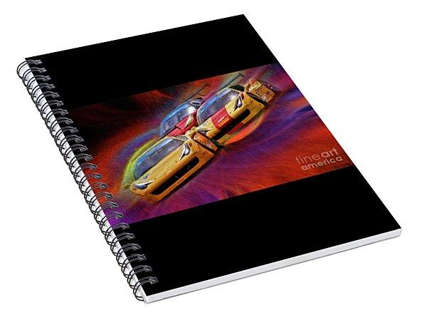 Tony Ferraro Leads Mike Louli And Keith Larson Ferrari Challenge 458 Spiral Notebook