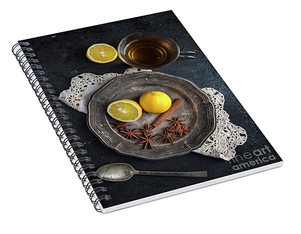 Top View Of Vintae Cup Of Tea Spiral Notebook