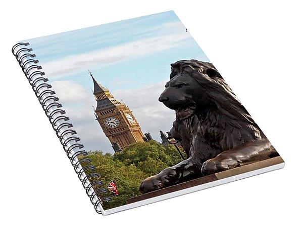 Trafalgar Square Lion With Big Ben Spiral Notebook