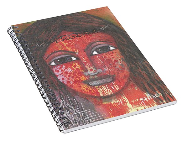 Spiral Notebook featuring the mixed media Tribal Woman by Prerna Poojara