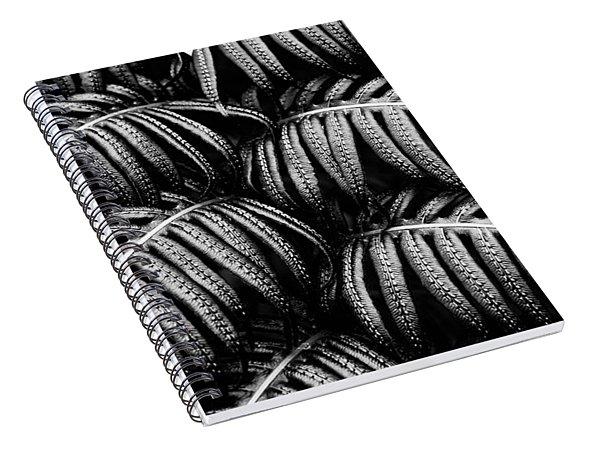 Tropical Fern Black White Spiral Notebook
