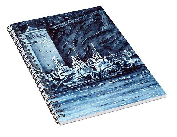 Tugboats. Indigo Morning. Spiral Notebook