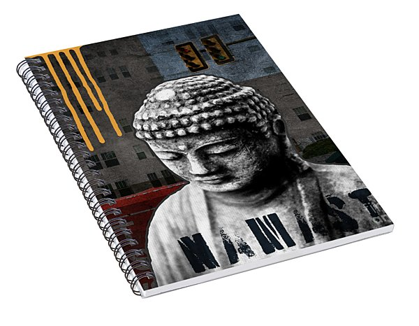 Spiral Notebook featuring the mixed media Urban Buddha  by Linda Woods
