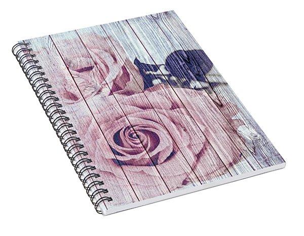 Vintage Shabby Chic Dusky Pink Roses On Blue Wood Effect Background Spiral Notebook