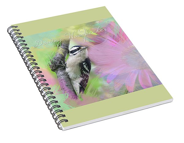 Watercolor Downy Woodpecker With Painted Daisy Spiral Notebook