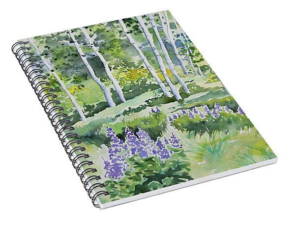 Watercolor - Early Summer Aspen And Lupine Spiral Notebook