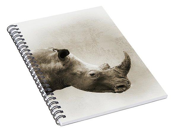 White Rhino Sepia Closeup Square Spiral Notebook