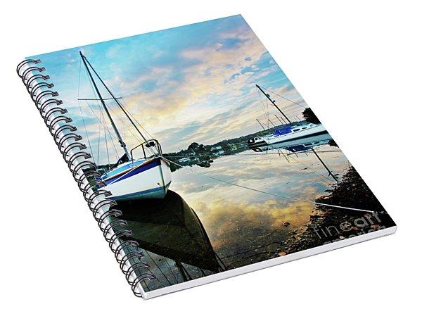 Winter Sunset At Mylor Bridge Spiral Notebook