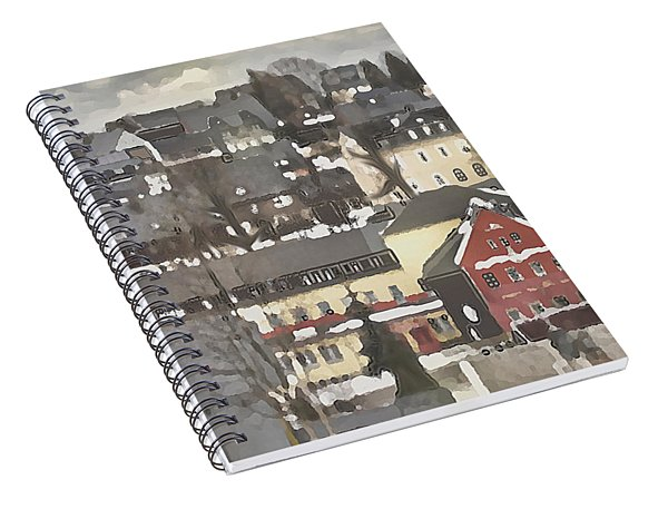 Spiral Notebook featuring the digital art Winter Village With Red House by Shelli Fitzpatrick