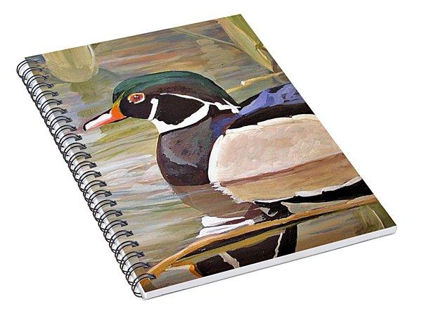 Wood Duck On Pond Spiral Notebook