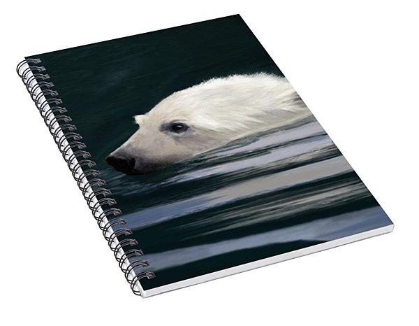 Young Polar Bear Swimming Spiral Notebook