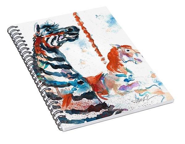 Zebra Gets A Ride The Ocean City Boardwalk Carousel Spiral Notebook