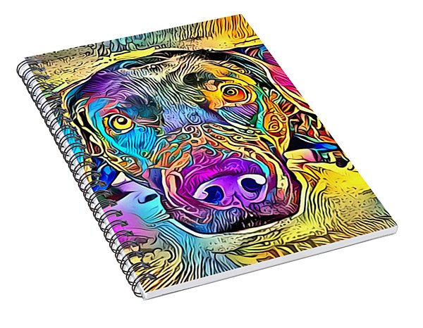 A Dog Lies In Bright And Colourful Colours Spiral Notebook