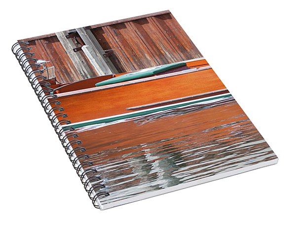 Antique Wooden Boat By Dock 1302 Spiral Notebook