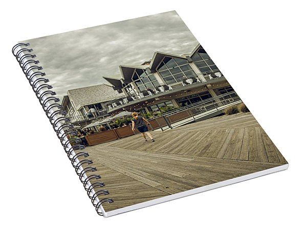 Spiral Notebook featuring the photograph Asbury Park Boardwalk Looking South by Steve Stanger