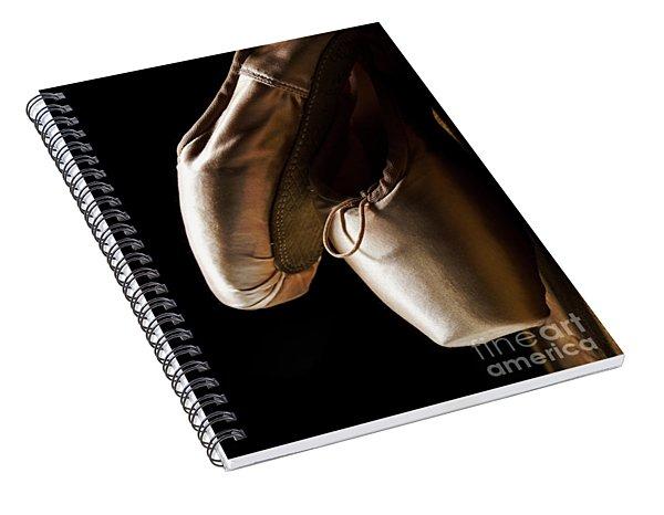 Ballet Pointe Shoes Hanging Over Black Background.  Spiral Notebook