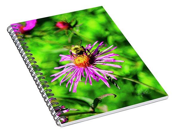Bee On Pink Flower Spiral Notebook