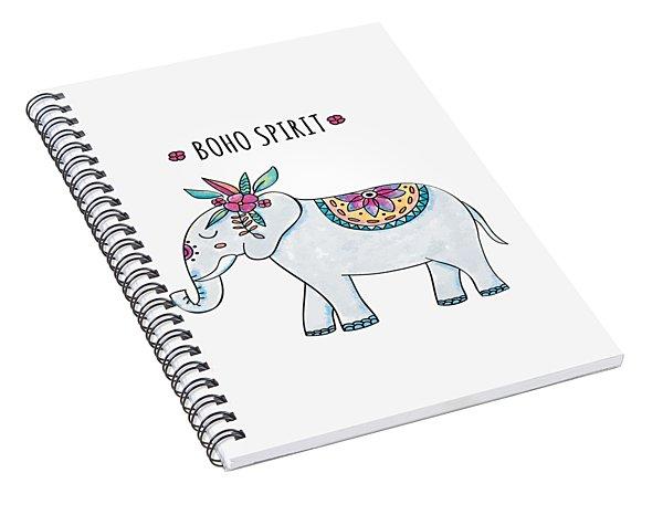 Boho Spirit Elephant - Boho Chic Ethnic Nursery Art Poster Print Spiral Notebook