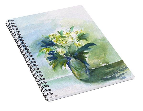 Daisies In Blue Spiral Notebook