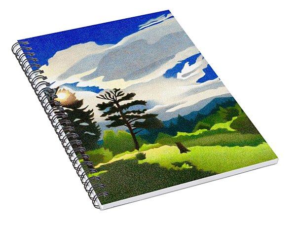 Spiral Notebook featuring the drawing Elk Ridge Twilight by Dan Miller