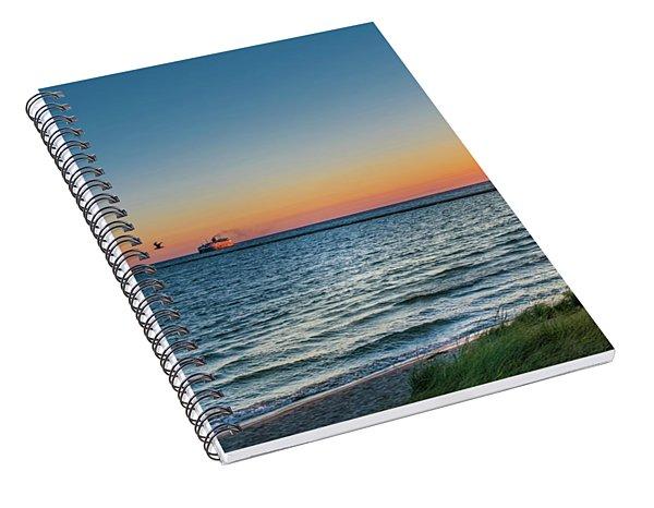 Ferry Going Into Sunset Spiral Notebook