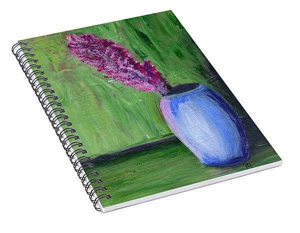 Flower-blue Vase Spiral Notebook