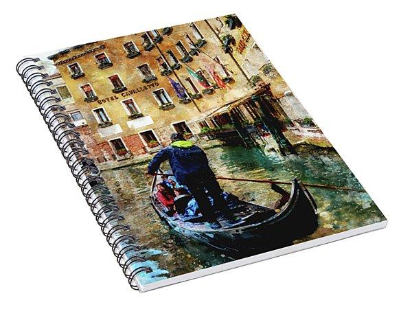 Gondola Traffic Near Piazza San Marco In Venice Spiral Notebook