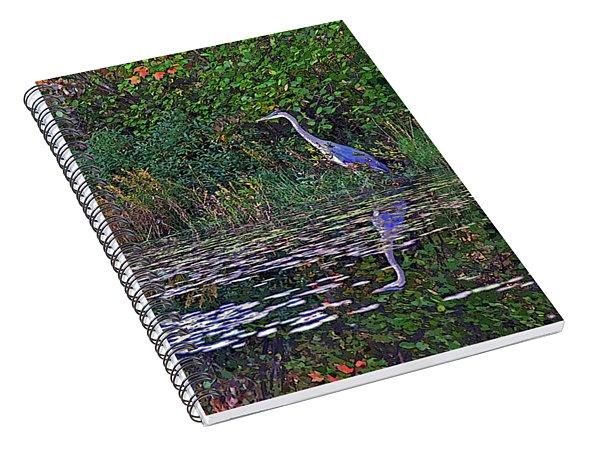 Great Blue Heron In Autumn Spiral Notebook