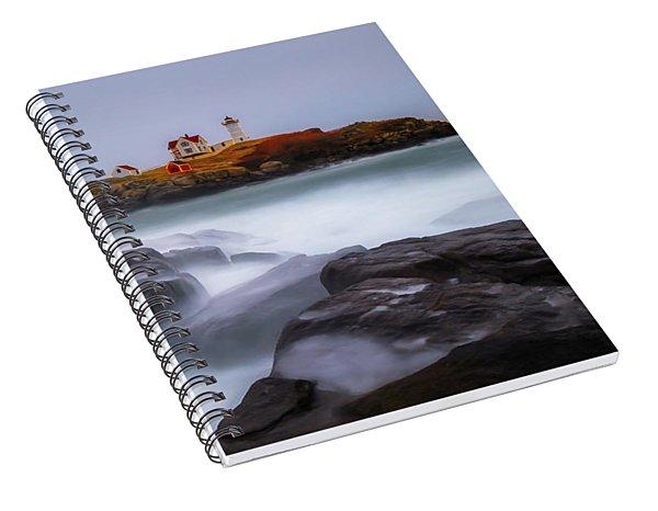 Holiday Lights, Nubble Lighthouse York Me. Spiral Notebook