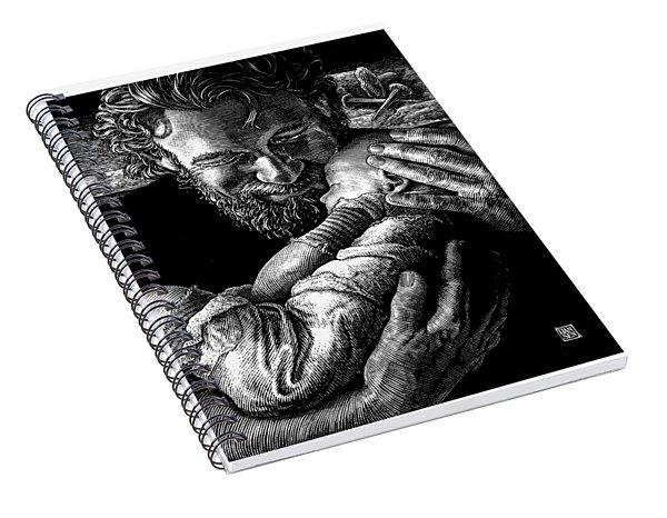 Spiral Notebook featuring the drawing Joseph by Clint Hansen