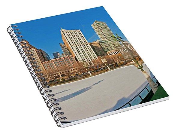 Mccormick Tribune Plaza Ice Rink And Skyline   Spiral Notebook