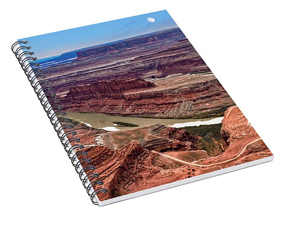 Spiral Notebook featuring the photograph Moon Over Deadhorse Point by Andy Crawford