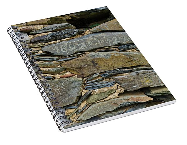 Old Schist Wall With Several Dates From 19th Century. Portugal Spiral Notebook